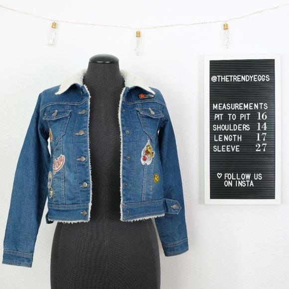 Indigo Rein Jackets & Blazers - Sherpa Denim Jacket w/ Patches!